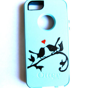 OTTERBOX iphone 5 case, case cover iphone 5s otterbox ,glitter otterbox case,otterbox iPhone 5,gift, love birds otterbox case
