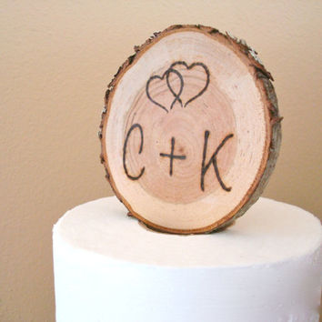 Rustic Wedding Cake Topper Wood Slice Burned Initials Romantic Personalized