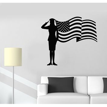 Vinyl Wall Decal Soldier Woman Girl Officer USA Patriotism American Flag Stickers Mural (g1401)