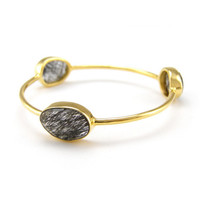 Black Rutilated Quartz Gold Stackable bangles - Rio Three Gemstone Bezel Bangles