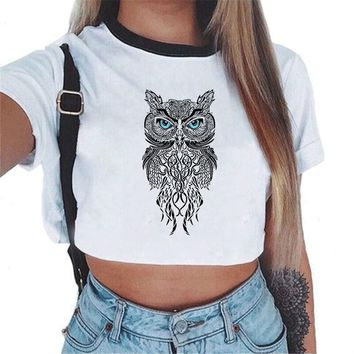 Crop Top Sexy Women Casual Tank Bustier Bralette Low Fashion Print Cat/Owl/Blouse Cami Feminino Short Sleeve Top Blusa Plus Size