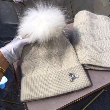 CHANEL Women Pearl Beanies Knit Hat Cap Scarf Scarves Set Two-Piece