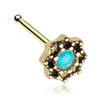 Golden Color Lotus Opalescent Sparkle Filigree Icon Nose Stud Ring - 20 G - Sold as a Pair