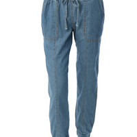 LE3NO Womens Lightweight Denim Jogger Pants with Elastic Waist (CLEARANCE)