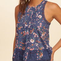 Girls Lace-Trim High-Neck Peplum Tank | Girls Tops | HollisterCo.ca