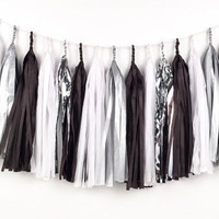 Glam Silver Tassel Garland - Black, White, Silver Tissue Paper Tassel Garland - Party Decoration // Wedding Decor // New Year's Eve Party