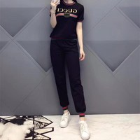 """Gucci"" Women Fashion Casual Letter Print Multicolor Stripe Little Bee Short Sleeve Trousers Set Two-Piece Sportswear"