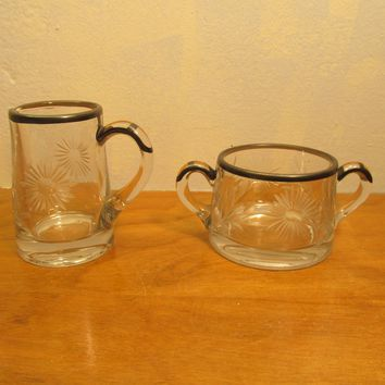 etched glass sugar and creamer