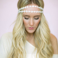 Daisy Chain Headband, Flower Crown, Wedding Hair Piece Double Strands (HB-14)