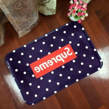 Navy Blue Dot Pattern Supreme Anti-skid Alphabet Bathroom Carpet Living Room Bedroom M
