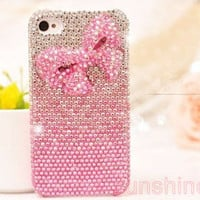 iphone 4 case iphone 4 cover- iphone 5 case- pink bowknot iphone 5 case crystal-bling  iphone 5 case crystal iphone4 case- iphone 4s case