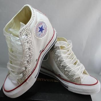wedge bridal converse wedding converse bling pearls custom converse sneakers pers
