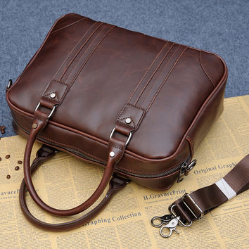mens womens business sports leather bag briefcase