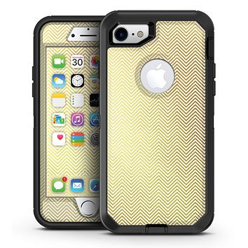 The Gold and White Micro Chevron Pattern - iPhone 7 or 7 Plus OtterBox Defender Case Skin Decal Kit