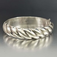 Vintage Silver Bangle Bracelet with Hollow Twist