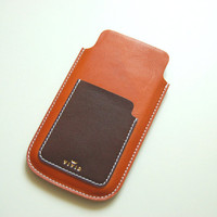 Leather Wallet Case / Sleeve for iPhone 6 Italian tanned leather with side pocket