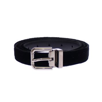 Black Velvet Leather Logo Belt
