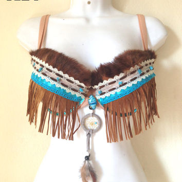 Native Pocahontas Inspired Rave Costume Fur Bra Festival Outfit Fringe Dreamcatcher