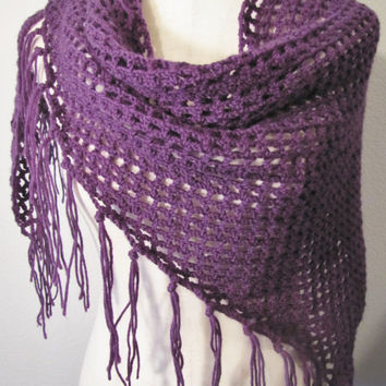 Eggplant Purple Shawl Scarf Wrap Fringe Fishnet Simple Trendy Shawl Wool Versatile Crochet Handmade