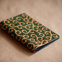 "Hand painted passport cover ""Golden curls"""