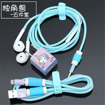 Fashion Cartoon Unicorn USB Cable Earphone Protector Set With Cable Winder Stickers Spiral Cord Protector For iphone