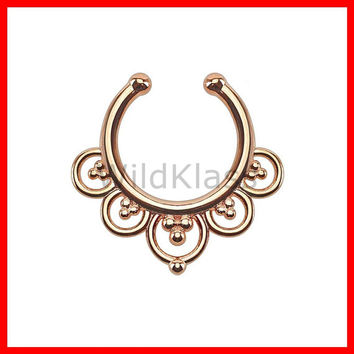 Rose Gold Flower Petals Non-Piercing Septum Hanger Fake Septum Ring Faux Nose Ring Rose Gold Steel Gold - Sold by Piece