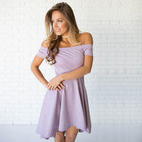 Swept Away Off Shoulder Dress In Lilac