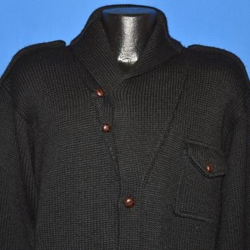 90s Ralph Lauren Shawl Collar Wool Cardigan Medium