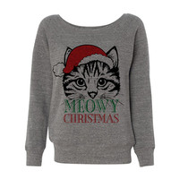 Grey Wideneck Meowy Christmas Merry Cat Kitten Ugly Oversized Ugly Christmas Sweatshirt Sweater Jumper Pullover