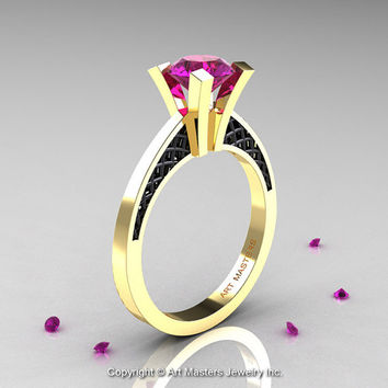 Modern Armenian 14K Yellow Gold Black Gold Lace 1.0 Ct Amethyst Solitaire Engagement Ring R308-14KYGBGAM