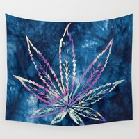 Pot Leaf Wall Tapestry Tye Dye Blue Yoga Meditation Mandala Wall Hanging