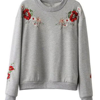 Grey Flower Embroidered Sweatshirt