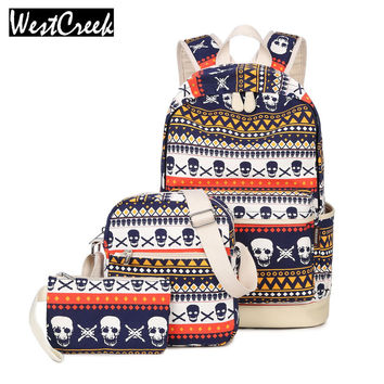 Westcreek Brand Printing Women Geometric Backpack Skull Canvas Bookbags Set Backpack School Bags for Teenage Girls