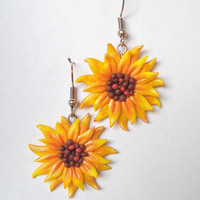 Sunny Sunflower Polymer Clay Fimo Earrings
