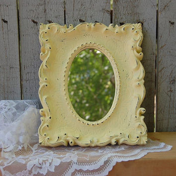 Shabby Chic Mirror, Distressed, Ivory, Cream, Off White, Burwood, Cottage, Wedding Decor, Hand Painted