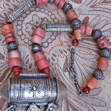 Old Berber Silver Korkoro with Chat Chat's & Coral