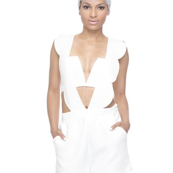 LOW RIDER SCALLOPED ROMPER - WHITE