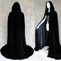 Lined Black Velvet Cloak Cape Wedding Wicca LARP SCA