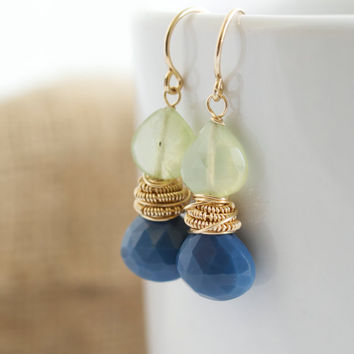 Opal and Prehnite Dangle Earrings, Blue and Yellow Earrings, Wire Wrapped Earrings, Opal Earrings , Gemstone Earrings