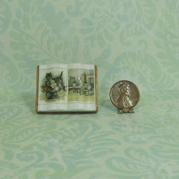 Dollhouse Miniature Cats Open Book on Stand