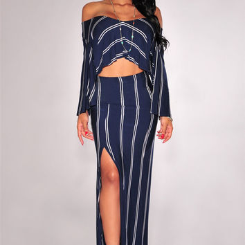 Navy Blue Striped Off Shoulder Cutout Long Sleeve Maxi Slit Dress
