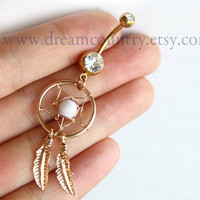 White  Dream Catcher Belly Button Ring, golden Feathers Navel Jewelry Piercing
