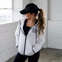 White Zip Up Windbreaker