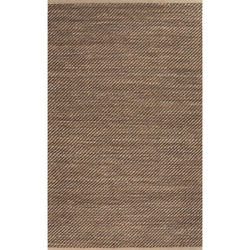 Jaipur Rugs Naturals Solid Pattern Taupe/Black Jute and Rayon Area Rug HM16 (Rectangle)