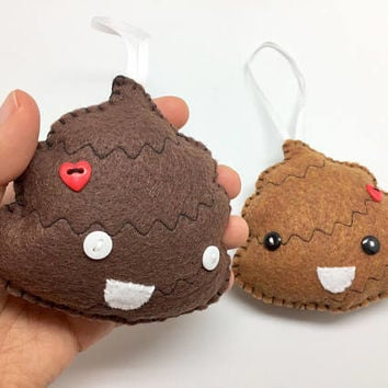 Crap emoji, poop ornament, ugly ornament, couple gift, Felt ornament, geeky decor, christmas tree ornament, stocking stuffer, anime ornament
