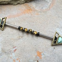 Turquoise Arrow Triangle Industrial Barbell