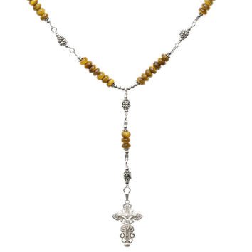 """Sterling Silver 7 Sorrows Rosary Necklace Tiger Eyes 6mm, Silver Crucifix, 17"""""""