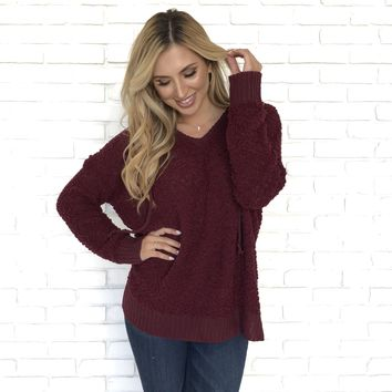 Warm Feelings Fleece Hoodie Sweater in Burgundy