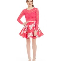 B. Darlin Long Sleeve Floral Skirt Two-Piece Dress | Dillards