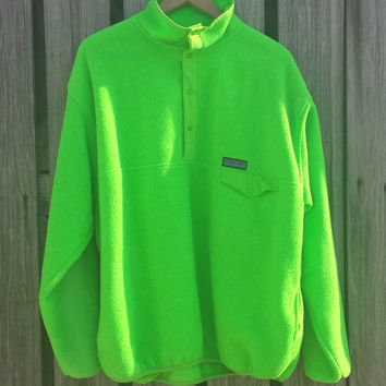 Vintage GAP Men's Arctic Fleece NEON Green Snap Neck Pullover - Size L